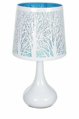 fb39de9985fa Lamp Touch Blue Tree Lamp Shade and Foot Metal Bedside Touch 3 Intensities