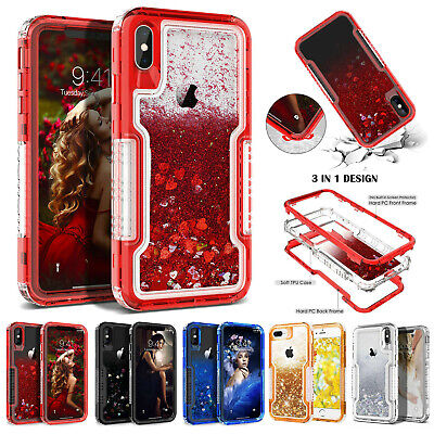 For iPhone XR Xs Max 6 7 8 Plus X Glitter Liquid Quicksand Case Heavy Duty Cover