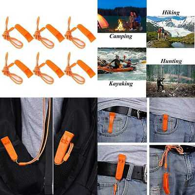 Safety Whistle Marine W Lanyard 6 Pack For Boating Camping Hiking Hunting Emerge