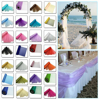 26m X 29cm Organza Roll Sheer Fabric Wedding Party Chair Bows Table Runner Sash