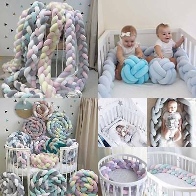 1M/2M/3M Infant Plush Crib Pillow Pad Protector Bumper Bed Bedding Cot Braid AU