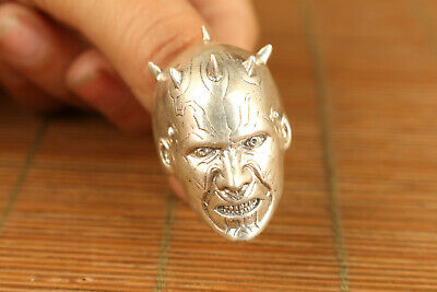 S925 silver hand carving evil person ring noble gift