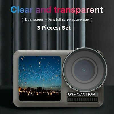 3 Set Tempered Glass Film Dual Screen+Lens Protector For DJI OSMO Action Cameras