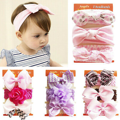 3Pcs Cute Baby Floral Headband Kid Girl Elastic Bowknot Accessories Hairband Set