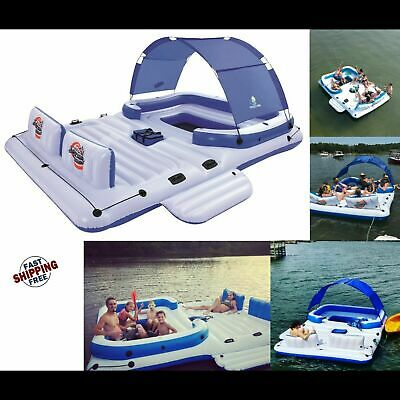 Floating Lake Island Lounge Water Raft Tropical Pool Beach Inflatable 6 Person