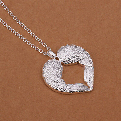 925 Silver Sterling Angel Wing Necklace Heart Pendant Chain Fashion Jewelry Gift