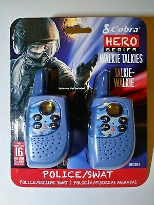 Cobra Hero Series Police /& SWAT 16 Mile 22 Channel 2Way Kids Walkie Talkie Blue