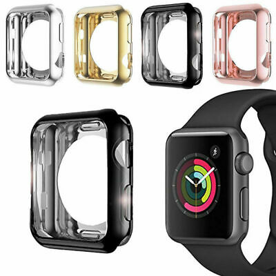 For Apple Watch Series 4/3/2/1 TPU Bumper iWatch Screen Protector Case Cover Dr