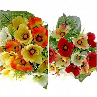 Artificial 17 head Poppy Bunch - Red , Yellow, Orange Cream - Select Colour