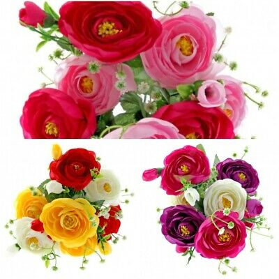 Mini Artificial 7 head Ranunculus Rose Bush Red Yellow Cream Purple Cerise Pink