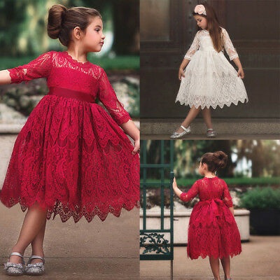 Toddler Kids Baby Girls Lace Flower Princess Tutu Party Pageant Dress Clothes CA