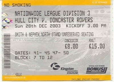 Ticket - Hull City v Doncaster Rovers 28.12.03