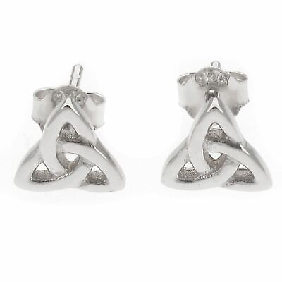 Triquetra 6.5 x 6.5m Sterling Silver Upside Down Celtic Triangle Stud Earrings
