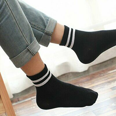3 Pairs Men Ladies Teen Unisex Quarter Ankle Trainer Sport Socks Striped Cotton