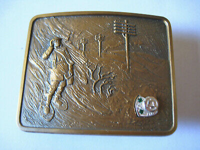 Brass Belt Buckle Lineman Service Award from Pacific Northwest Bell with 3 Jewel