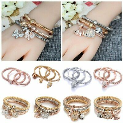 3Pcs/Set Rhinestone Crystal BraceletS Heart Butterfly Owl Elephant Women Jewelry
