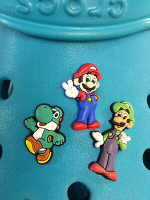 3 Mario, Luigi & Yoshi Shoe Charms For Crocs & Jibbitz Wristbands
