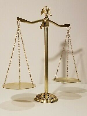 """Thai Vintage Siam Antiques Balance Solid Brass Scales of Justice Lawyer 8"""""""