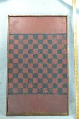 antique game board checkers chess red black painted wood 19th c