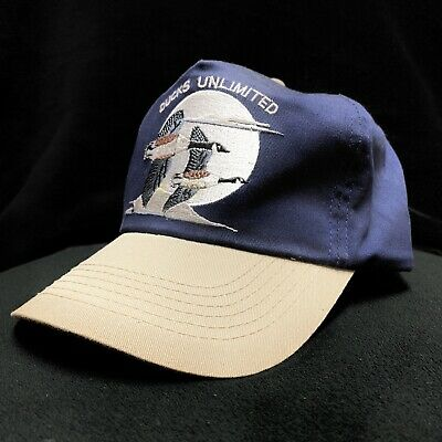 Vintage Ducks Unlimited Blue Khaki Snapback Hat Cap Embroidered Flying Geese