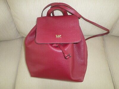 e97c8ab79fd3 Kors Studio Junie Maroon Red Med Flap Leather Handbag Backpack NWT $268