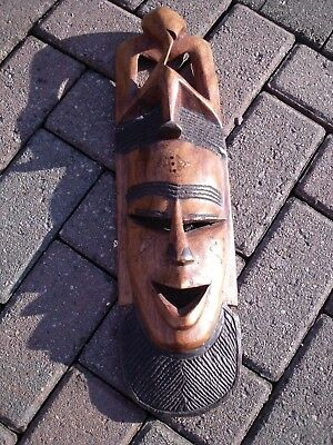 Wood Carving Wall Face Mask ~ Tribal Face Mask.