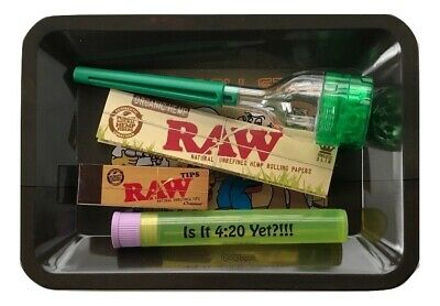 Raw Lion Head Rolling Tray Bundle Raw Papers Tips Doob Tube Cone Roller Grinder