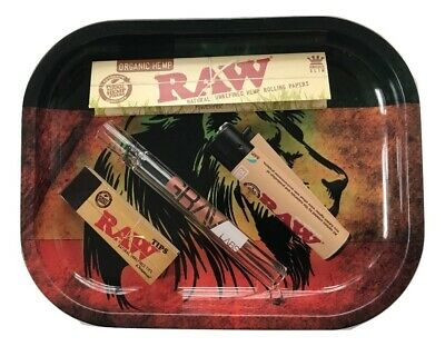 Raw Lion Head Tray King Size Papers Raw Tips GRAV Lab Chillum Clipper Lighter