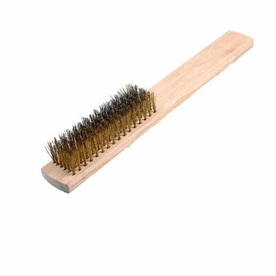 """8"""" Length 6 Rows Brass Bristle Wood Handle Wire Scratch Brush"""
