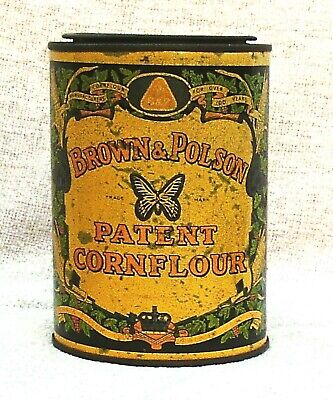 VINTAGE BROWN & POLSON PATENT CORN FLOUR TIN 1930/40s IN GOOD CONDITION FOR AGE.