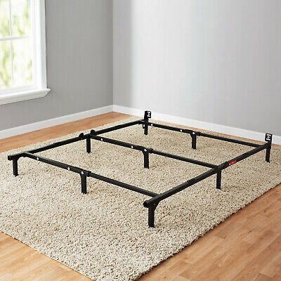 Black Adjustable Metal Bed Frame For Box Spring Mattress Twin Full Queen Size