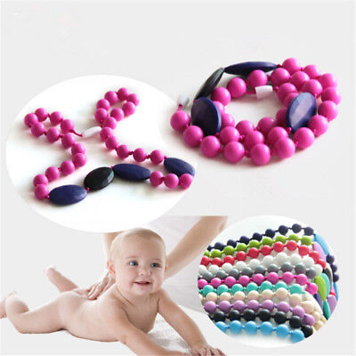 10X Novel Round Baby Silicone Teething Beads Teether Necklace Chain Chew Toy LS