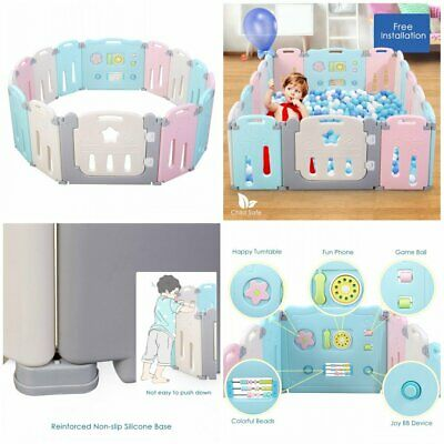 Baby Playpen Kids Safety Play Center Yard Indoor Outdoor Pen Fence 14/16 Panel