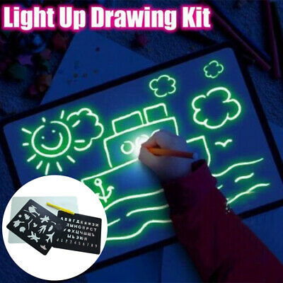 Portable Light up Drawing Fun Developing Toy Draw Sketchpad Board Gift Kids