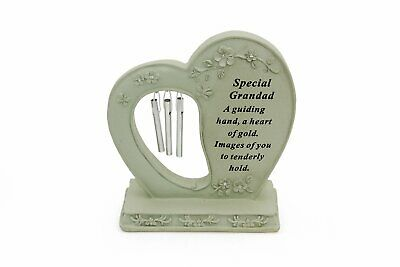 Standing Heart Wind Chime - Grandad - Cemetery Garden Grave Remembrance Memorial