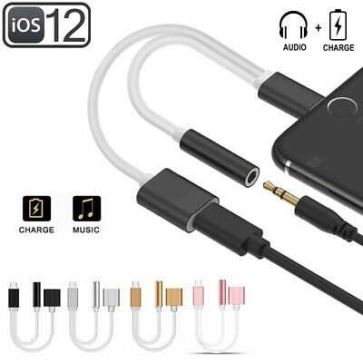 Lightning to 3.5mm AUX Headphone Audio Adapter Splitter for iPhone 7 8 X XS XR