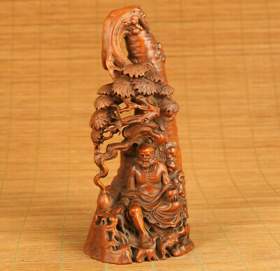 unique Old boxwood tree arhat statue netsuke longevity blessing home ornament