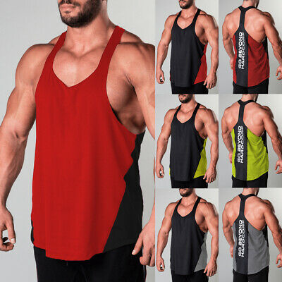 UK Stock Gym Men's Muscle Sleeveless Tank Top Tee Shirt Bodybuilding Sport Vest