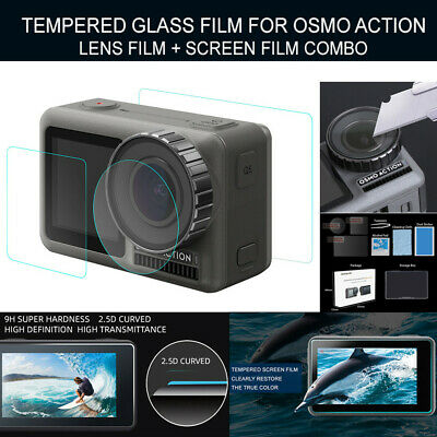 1 Set Tempered Glass Film Dual Screen+Lens Protector For DJI OSMO Action Camera