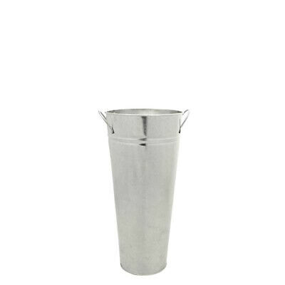 Silver Metal Galvanised Florist Vase x 38cm  Tall Silver Flower Container