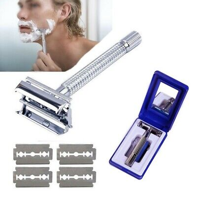Men's Traditional Safety Shaver Classic Double Edge Chrome Shaving Razor Blades