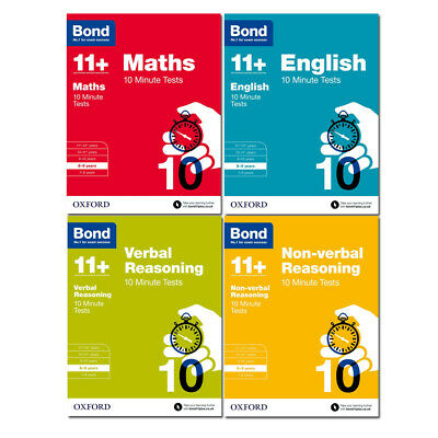 Bond 11+ Maths English Verbal Reasoning 10 Minute Test For Age 8-9 years - NEW