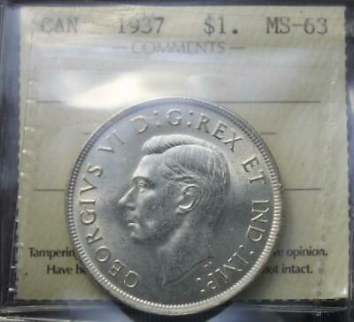 Canada 1937 Silver Dollar, ICCS MS63 Graded, Lustrous