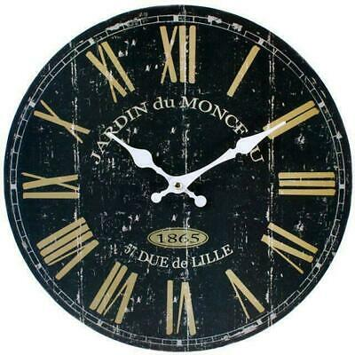 Large Vintage Shabby Chic 'BLACK FRENCH' Distressed Rustic Effect Wall Clock