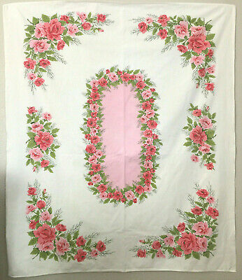 Vintage Printed Tablecloth with Red and Pink Roses