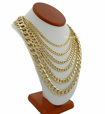 Men's 14k Italian Cuban link Chain Necklace 3.5mm to 12mm Gold Plated