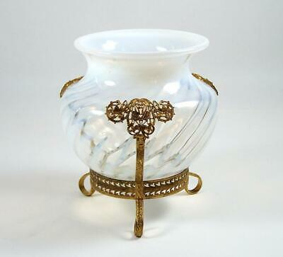 "Vintage Opalescent Glass Vase Footed Ormolu Mount White Swirl 6"" High"
