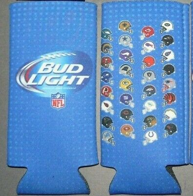 2 New BUD LIGHT NFL 16 oz. Slim Can or Bottle Insulated Cozy Coozie Koozie