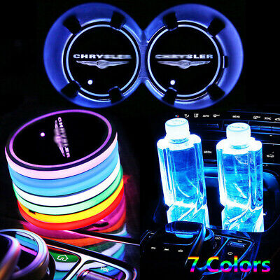 2x for Chrysler LED Car Cup Holder Pad Mat Auto Interior Atmosphere Lights Lamp