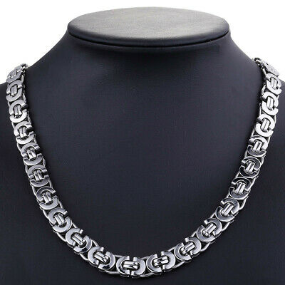 "18-36"" 11mm Stainless Steel Flat Byzantine Link Chain Necklace Mens Boys Jewelry"